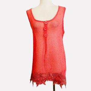 Pretty Angel Tunic Orange Open Weave Sequins Lace